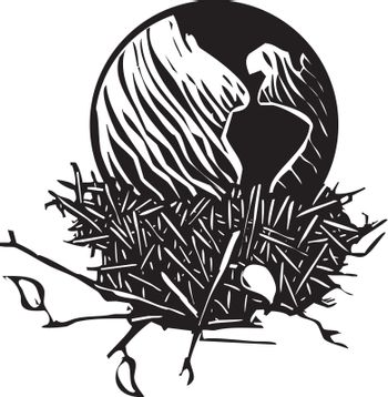 Woodcut style image of the Earth resting in a birds nest.