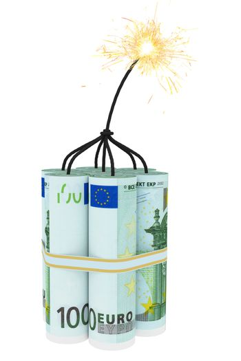 Dynamite composed of euro bills with a burning wick