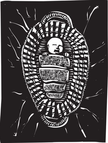 Woodcut style image of the baby Biblical Prophet Moses floating in a basket.