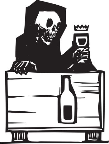 Woodcut style image of the skeleton death sitting at a table drinking a glass of wine.