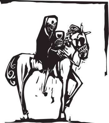 woodcut style image of the skeleton death riding a horse and drinking wine.