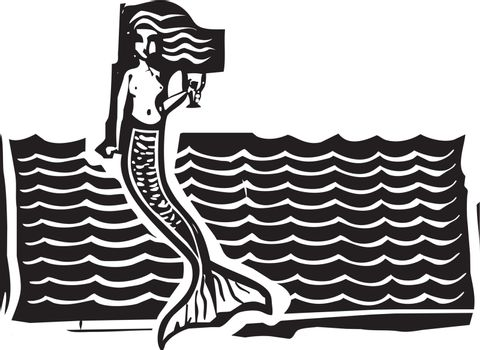 Woodcut style image of a mermaid in the waves.