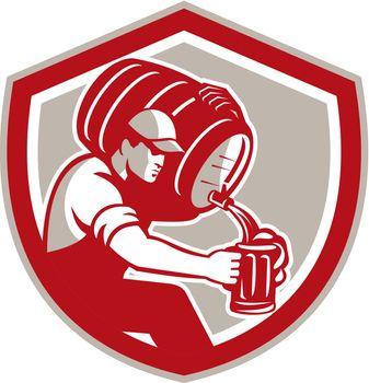 Bartender Carrying Barrel Pour Pitcher Retro