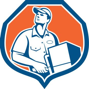 Delivery Worker Deliver Package Carton Box Retro