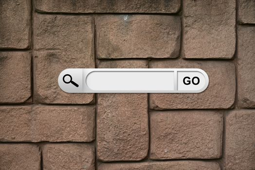 Search bar in browser. Wall of brown bricks on background