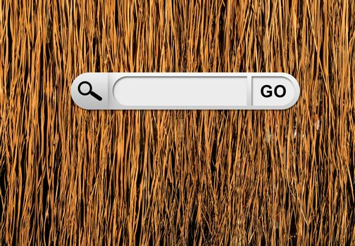 Search bar in browser. Yellow dry grass surface on background