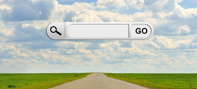 Human hand indicates the search bar in browser. Green grass, road and clouds on background