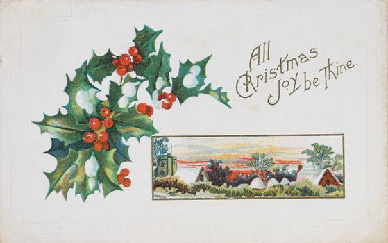 vintage postcard with holly and type