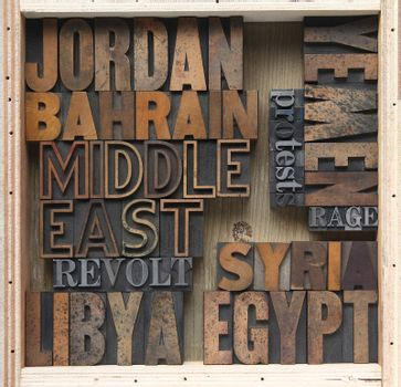 words associated with uprisings in the Middle East in old wood and metal type