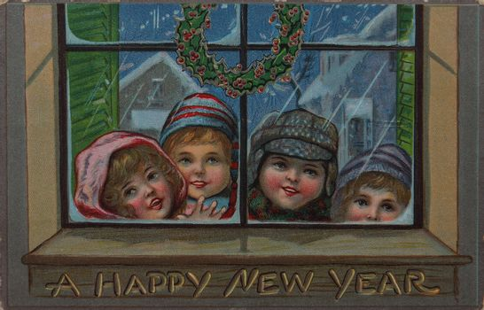 old postcard showing four children in a window