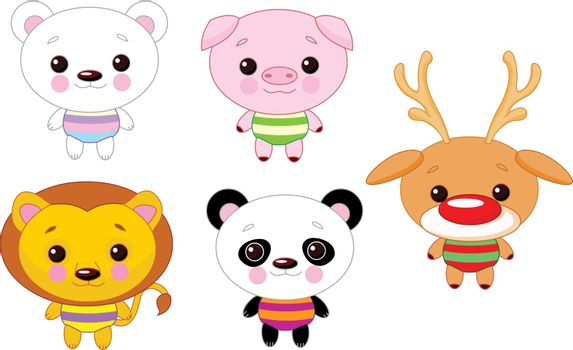 Illustration of number cute baby animals