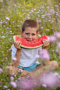 Kid with watermelon