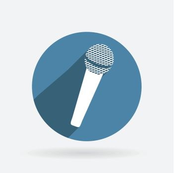 microphone sign. Circle blue icon with shadow