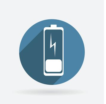 discharged battery. Circle blue icon with shadow.