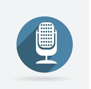 microphone sign. Circle blue icon with shadow.
