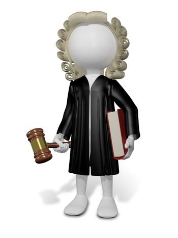 abstract illustration of a judge in a wig with a book