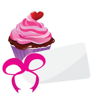cupcake with a pink ribbon and a tag