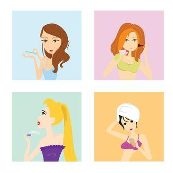 four beauty saloon girls