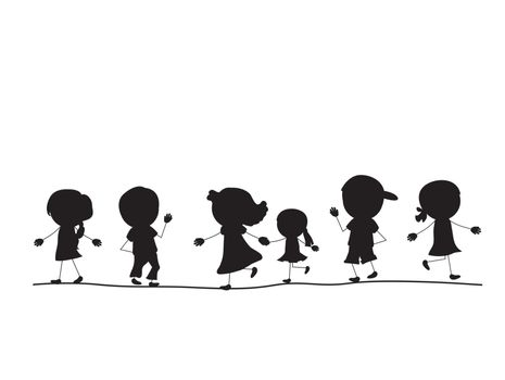 simple walking silhouettes kids in one line