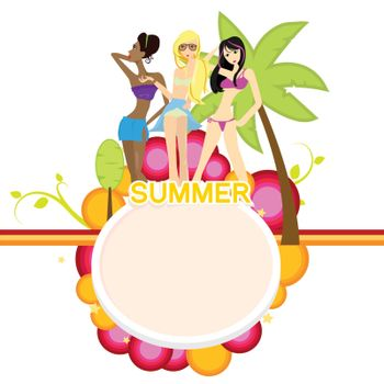 summer girls with holiday and fun background