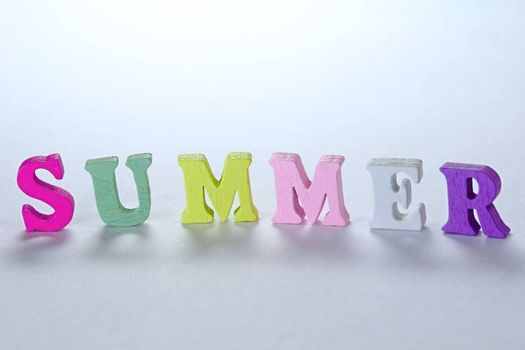 Photo shows detail of summer sign on white background.