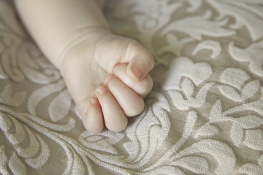 Baby's hand close up in detail