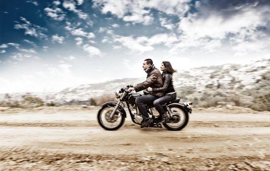 Active couple on the motobike