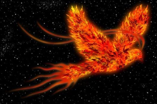 Phoenix in space art background