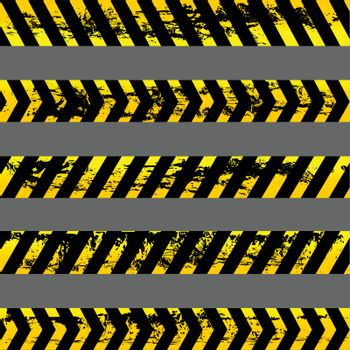 Collection of five different grunge yellow caution tapes - isolated illustrations