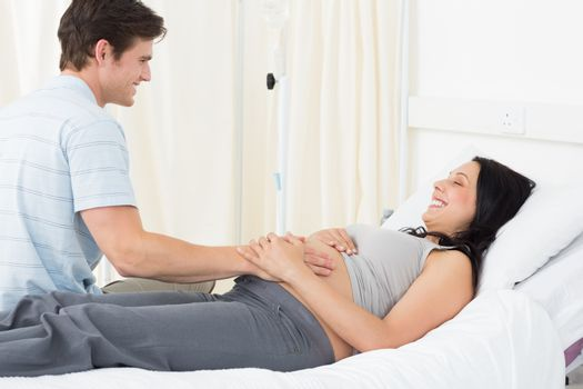 Expectant couple in hospital