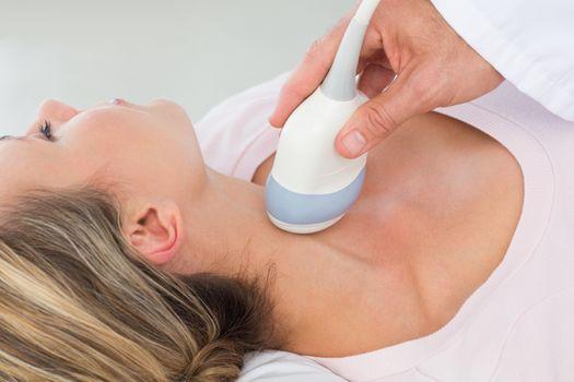Woman getting an ultrasound scan