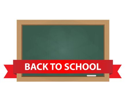 Chalkboard with back to school text on banner