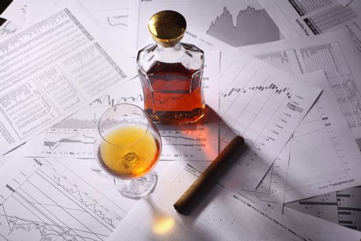 Brandy and cigar on charts