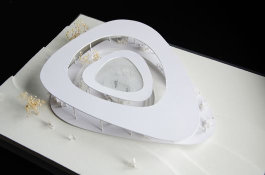 Architectural model of a curve building with contour