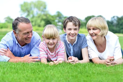 Happy family lying on lush green grassland