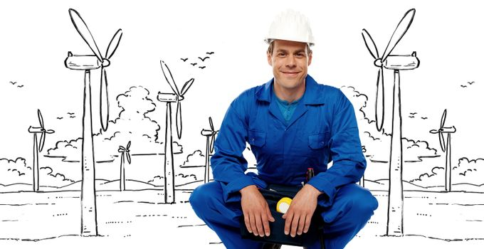 Construction worker against graphic background