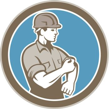 Construction Worker Rolling Up Sleeve Circle Retro
