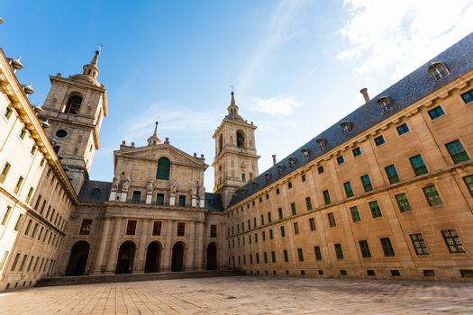 Patio entrance to the church in the Royal Site of San Lorenzo de El Escorial next to Madrid Spain