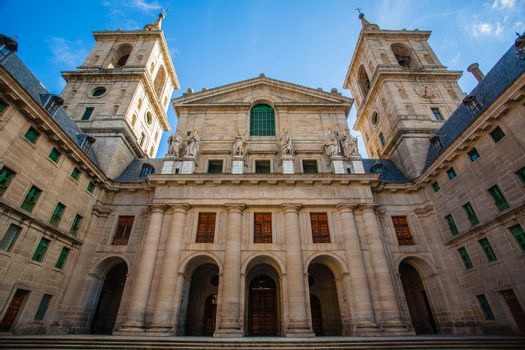 View of the facade church in the Royal Site of San Lorenzo de El Escorial next to Madrid Spain