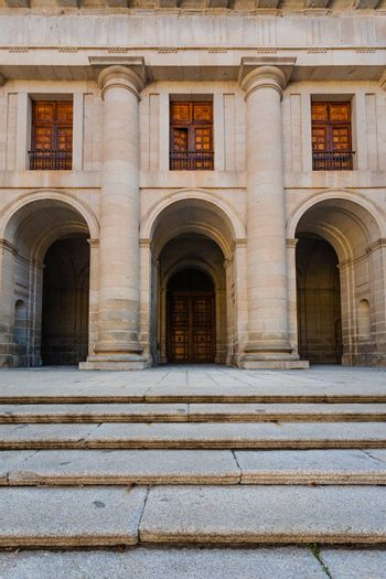 Close up View of the facade church and starway in the Royal Site of San Lorenzo de El Escorial next to Madrid Spain