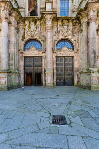 View of the north double door entrance to the Cathedral of Santiago de Compostela ,Spain
