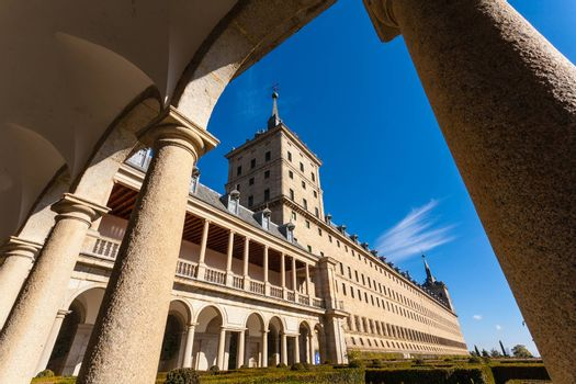 View from the Escorial Royal Monastery and loggia of the gardens