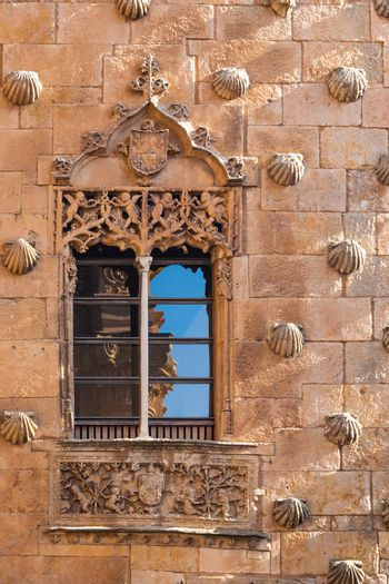 beautiful window with reflections in The House of Shells ,Salamanca Spain