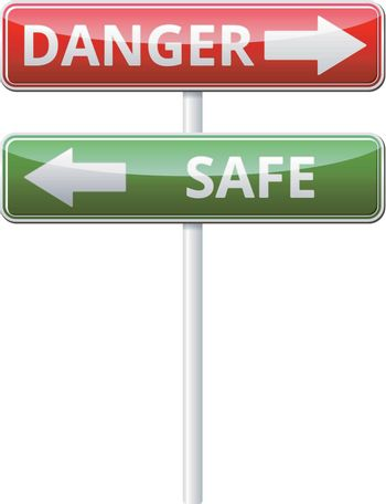 Danger Safe traffic sign with reflection isolated on white background