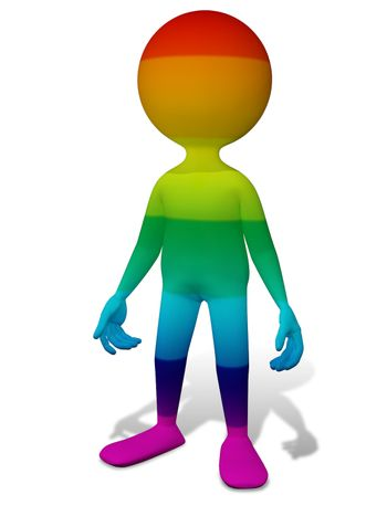 3d abstract illustration of a colorful man