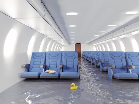 flooding airplane interior. 3d concept