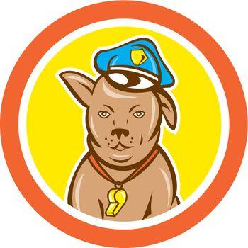 Police Dog Canine Circle Cartoon
