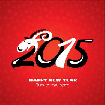 Chinese new year card with goat vector illustration