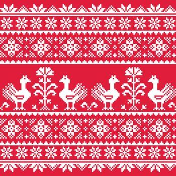 Ukrainian Slavic folk art knitted red emboidery pattern with birds