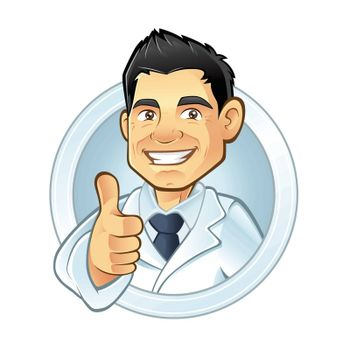 friendly dentists smiling thumbs-up and wearing dentist uniform